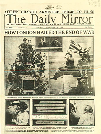 The front page of the Daily Mirror, 12 November 1918
